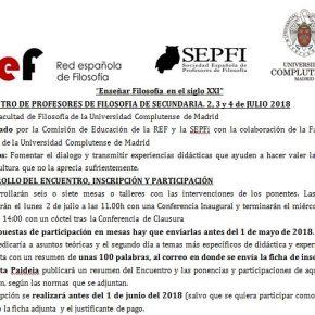 II ENCUENTRO DE PROFESORES DE FILOSOFÍA SECUNDARIA