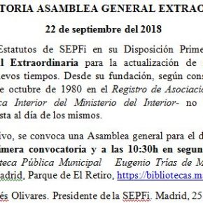 ASAMBLEA GENERAL EXTRAORDINARIA SEPFI